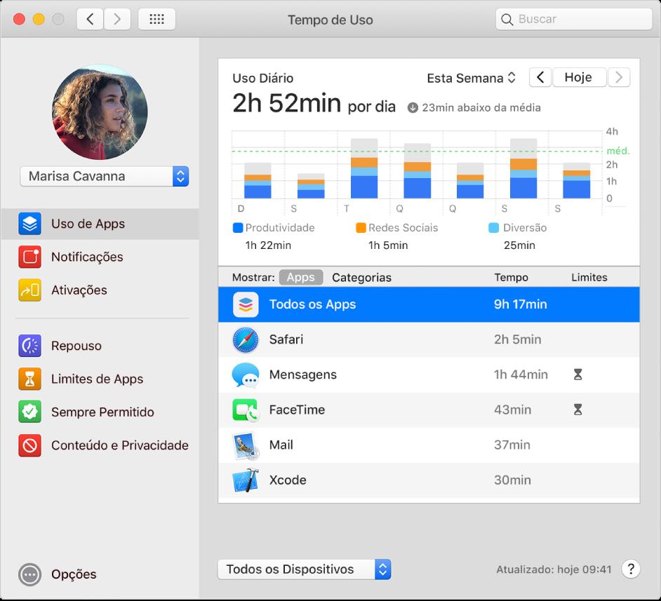 O painel Uso de Apps do Tempo de Uso mostrando o uso de apps por uma criança em um grupo de Compartilhamento Familiar. O ícone repouso é exibido ao lado dos apps que atingiram o limite de tempo.