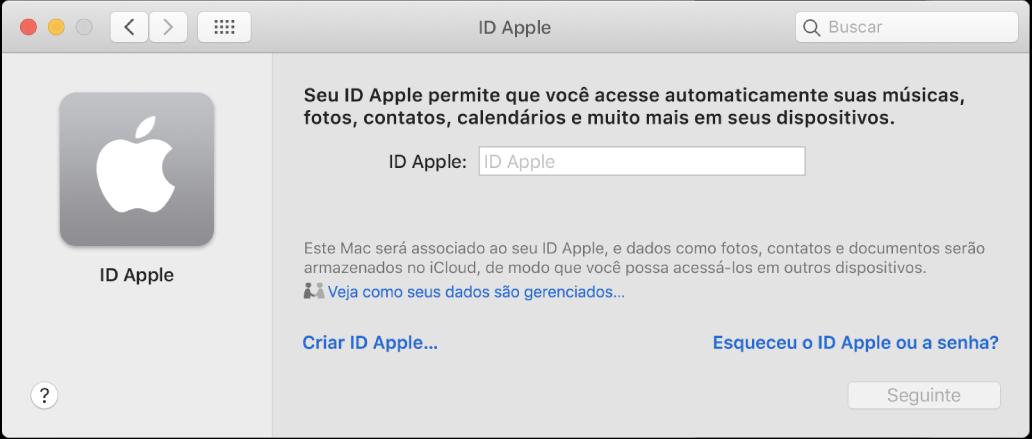 Diálogo de um ID Apple aguardando a digitação de um ID Apple. O link Criar ID Apple permite que você crie um novo ID Apple.