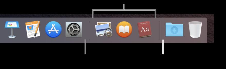 A extremidade direita do Dock. Adicione apps à esquerda da seção de apps usados recentemente e adicione pastas à direita dessa seção, onde o conjunto Transferências e o Lixo estão localizados.