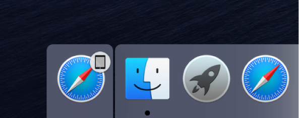 Ícone Handoff de um app do iPad no lado esquerdo do Dock.