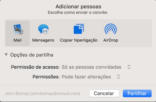 """A janela """"Adicionar pessoas"""" a mostrar aplicações que pode usar para enviar convites e as opções para partilhar documentos."""