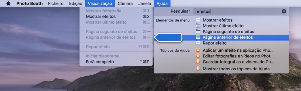 O menu Ajuda do Photo Booth com um resultado de pesquisa para um elemento de menu selecionado e uma seta a apontar para o elemento nos menus da aplicação.