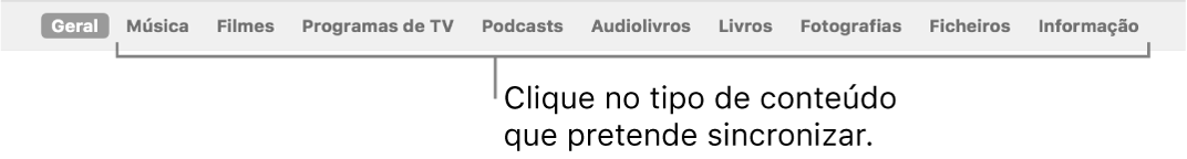 A barra de botões a mostrar o botão Geral e os botões para conteúdos como música, filmes, programas de TV, etc.