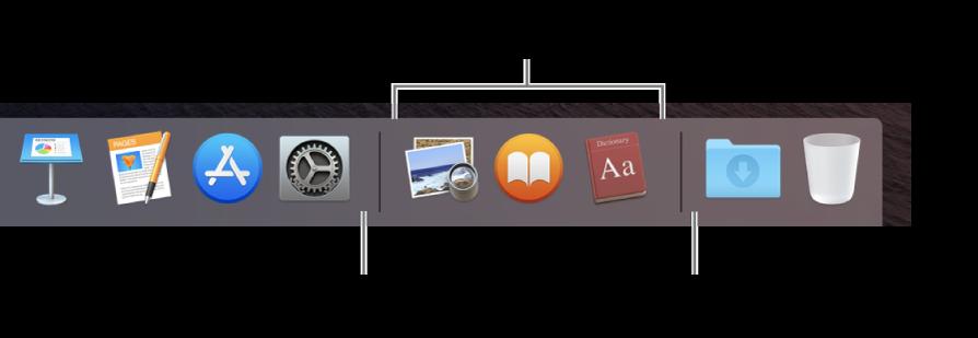 Правый край панели Dock. Добавьте программы слева от списка недавно использованных программ, а папки — справа от этого списка, где расположены стопка «Загрузки» и Корзина.