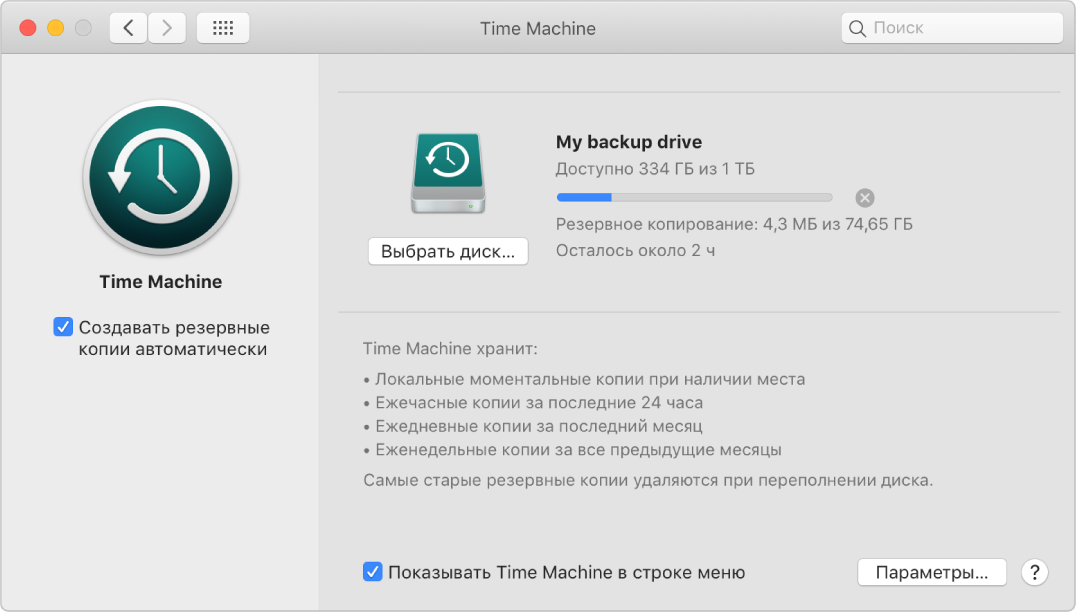 Настройки TimeMachine: показано выполнение резервного копирования на внешний диск.
