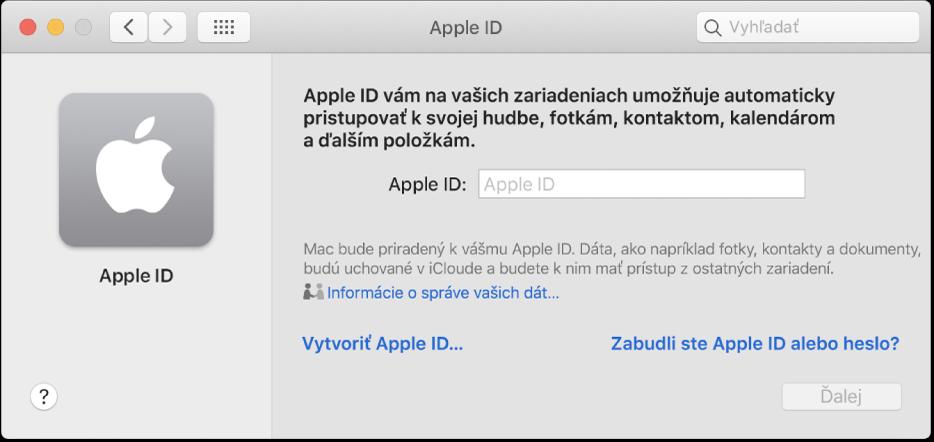 Dialógové okno AppleID pripravené na zadanie AppleID. Odkaz Vytvoriť AppleID umožňuje vytvoriť nové AppleID.