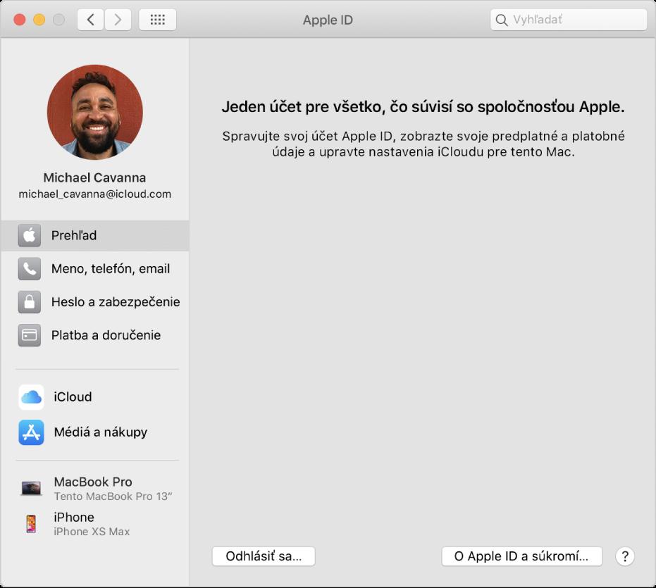Nastavenia AppleID spostranným panelom obsahujúcim rôzne typy možností účtu, ktoré môžete použiť, anastaveniami Prehľad pre existujúci účet.