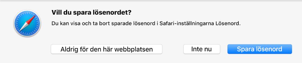 En dialogruta visas med en fråga om du vill spara lösenordet för en webbplats.