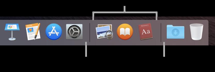 พื้นที่ส่วน Dock ที่แสดงเส้นกั้นระหว่างแอพ แอพที่ใช้ล่าสุด และไฟล์และโฟลเดอร์