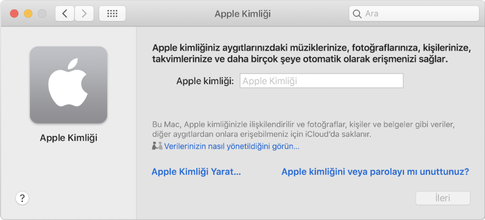 Applekimliğini girmek için hazır Applekimliği sorgu kutusu. AppleKimliğiYarat bağlantısı, yeni bir Apple kimliği yaratmanızı sağlar.