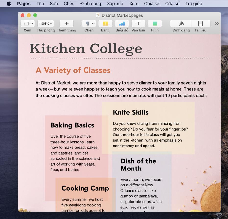 Tài liệu trong ứng dụng Pages trên màn hình nền.