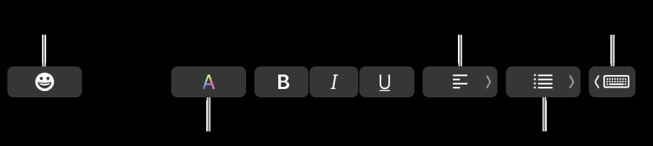 Touch Bar với các nút từ ứng dụng Mail bao gồm—từ trái sang phải—Biểu tượng, Màu, In đậm, In nghiêng, Gạch chân, Căn chỉnh, Danh sách và Gợi ý nhập.