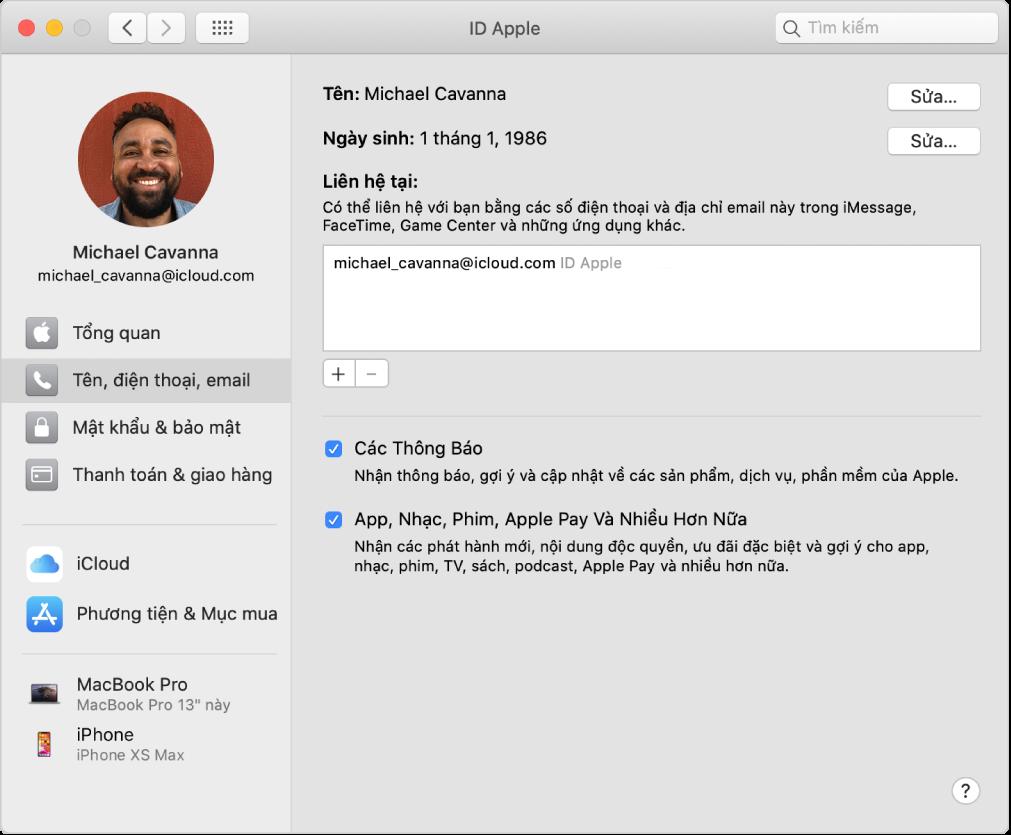 Tùy chọn ID Apple đang hiển thị thanh bên gồm các loại tùy chọn tài khoản khác nhau mà bạn có thể sử dụng cũng như tùy chọn Tên, Điện thoại, Email cho tài khoản hiện có.