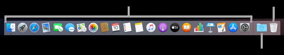 Dock đang hiển thị các biểu tượng cho các ứng dụng, ngăn xếp Tải về và Thùng rác.