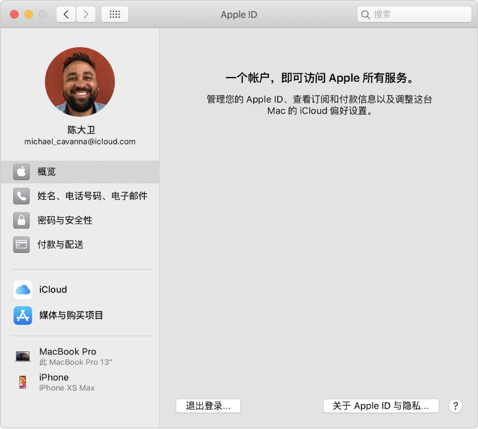 "Apple ID 偏好设置的边栏显示您可以使用的不同类型的帐户选项以及现有帐户的""概览""偏好设置。"