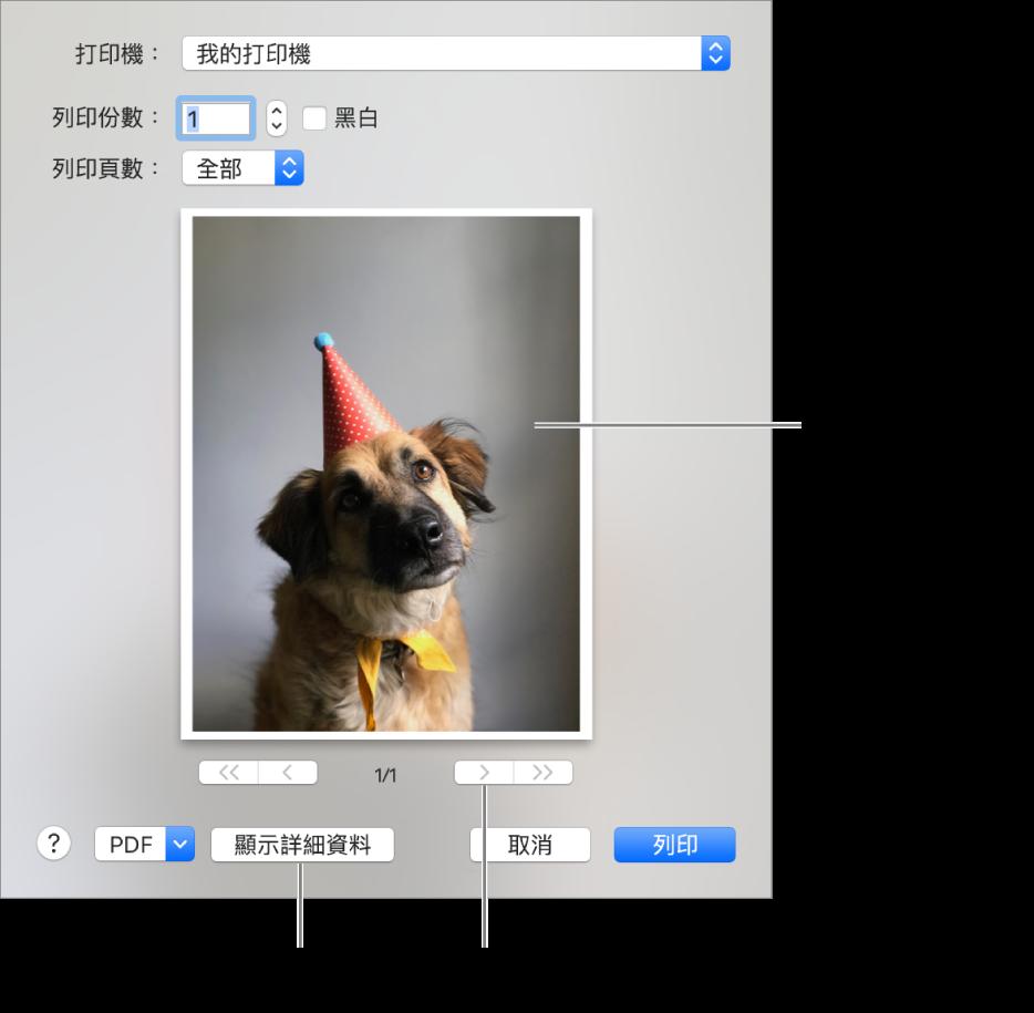 「打印機」彈出式選單中的圖像表示打印機的狀態。「列印」對話框會顯示你列印工作的小型預覽畫面。按一下「顯示詳細資料」按鈕來查看所有列印選項。