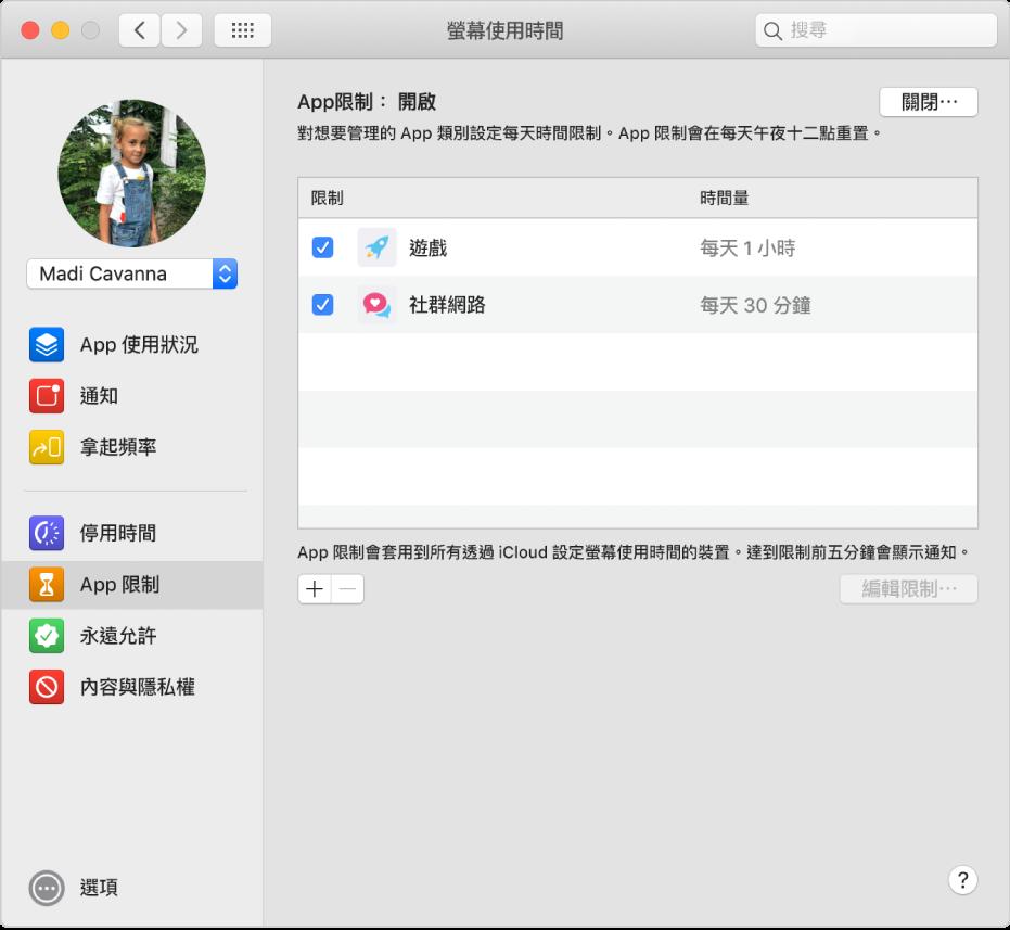 「螢幕使用時間」的「App 限制」面板,「App 限制」已開啟。已針對兩個 App 類別設定時間限制。