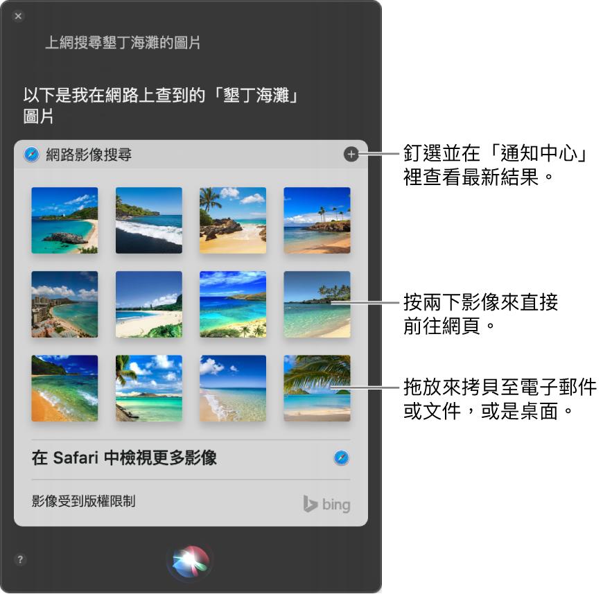 Siri 視窗,顯示針對您所提出詢問「上網搜尋夏威夷海灘的圖片」得到的 Siri 結果。您可以將結果釘選在「通知中心」,按兩下影像來打開包含影像的網頁,或者將影像拖至電子郵件、文件或桌面中。