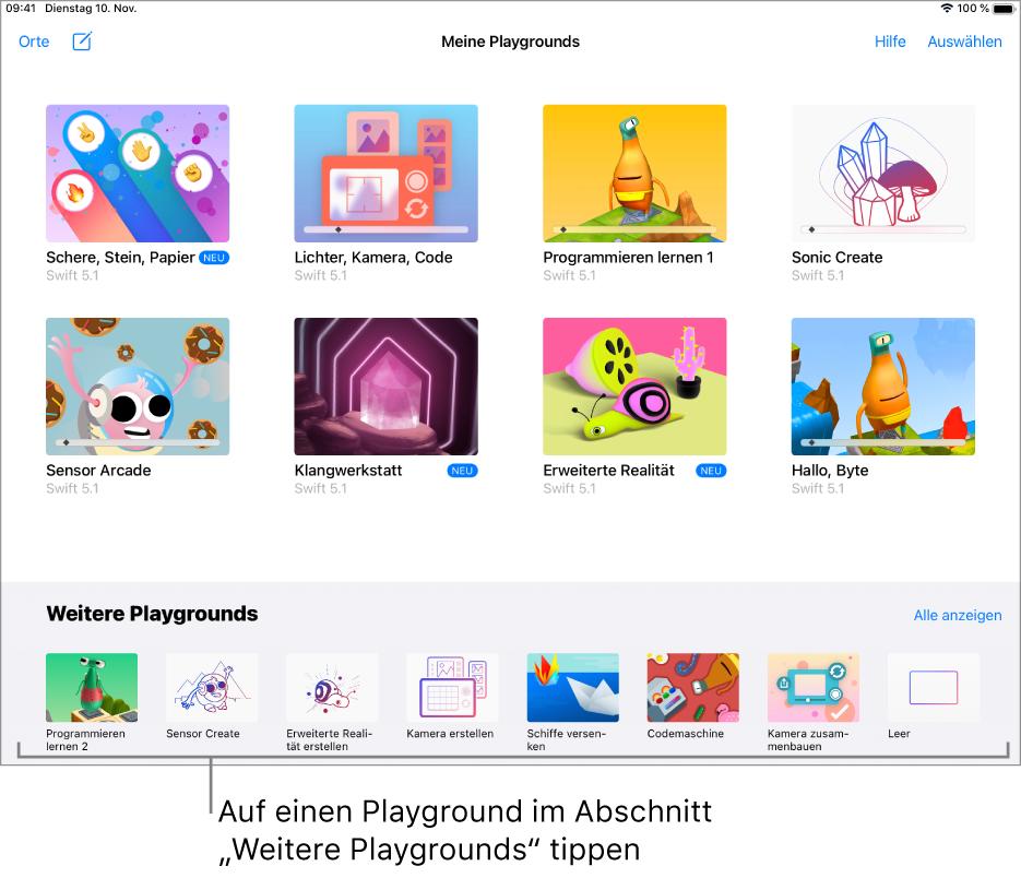 """Der Bildschirm """"Meine Playgrounds"""". Unten befindet sich der Abschnitt """"Weitere Playgrounds"""" mit diversen Playgrounds, die du ausprobieren kannst."""