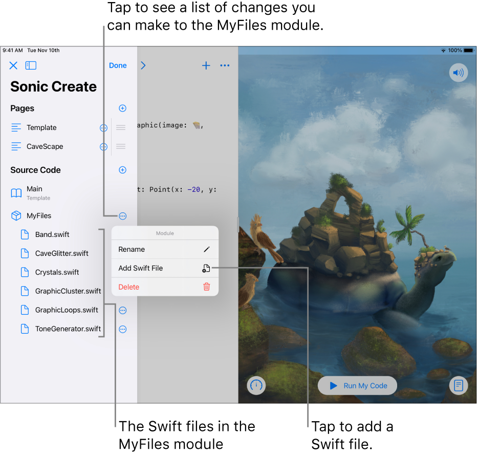 A playground page with the sidebar open, showing pages, modules, and Swift files. The list is in Edit mode, so you can tap buttons to the right of the list to rename, add, or delete pages, modules, or files.
