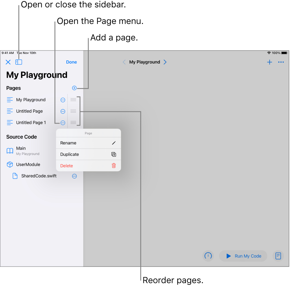 A playground page with the sidebar open, showing a list of pages, modules, and files. One of the pages in the sidebar has its shortcut menu open, showing the page commands Rename, Duplicate, and Delete.