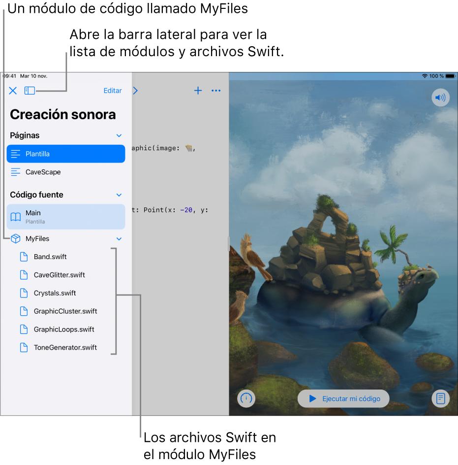 La página de un playground con la barra lateral abierta mostrando las páginas, el módulo de código MyFiles y la lista de archivosSwift que contiene.