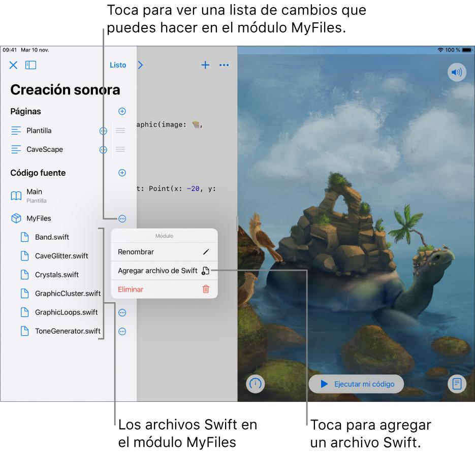 La página de un playground con la barra lateral abierta mostrando páginas, módulos y archivosSwift. La lista se encuentra en el modo de edición, que te permite tocar botones a la derecha de la lista para renombrarlos, y agregar o eliminar páginas, módulos o archivos.