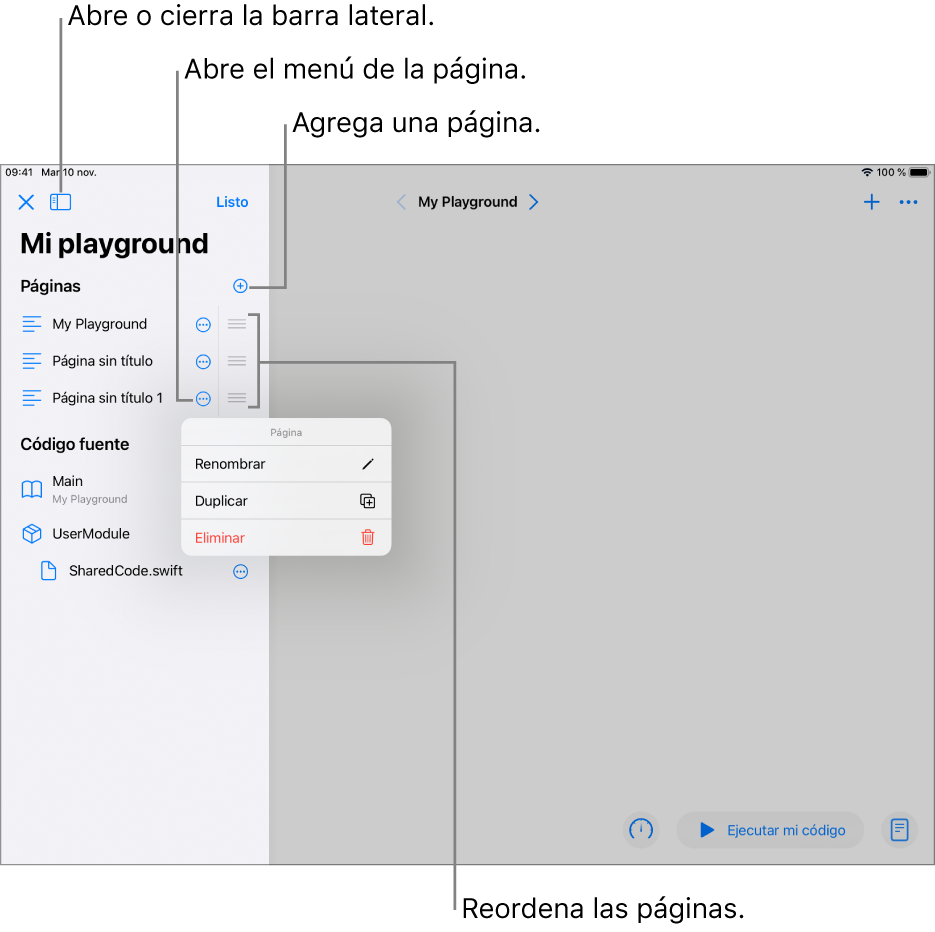 La página de un playground con la barra lateral abierta mostrando una lista de páginas, módulos y archivos. Una de las páginas en la barra lateral tiene su menú de funciones rápidas abierto, mostrando los comandos para renombrar, duplicar o eliminar.