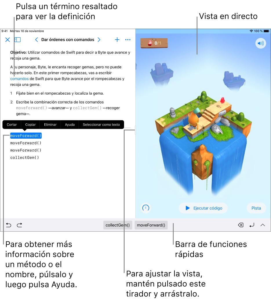 Un área de juegos con la zona para escribir código a la izquierda y la vista en tiempo real del resultado a la derecha. Puedes pulsar el texto resaltado para ver una definición, y pulsar el método y los nombres de las propiedades para abrir la ayuda rápida.