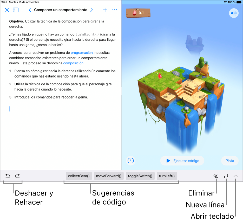 """La barra de funciones rápidas de la parte inferior de la pantalla, que muestra (de izquierda a derecha) los botones Deshacer y Rehacer, sugerencias de código, el botón Eliminar, el botón """"Nueva línea"""" y el botón """"Abrir teclado""""."""
