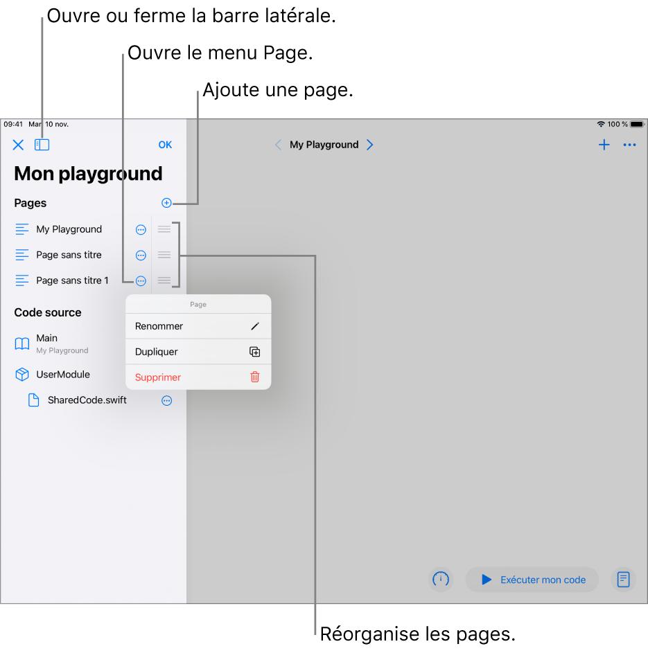 Une page de playground avec la barre latérale ouverte, montrant une liste des pages, des modules et des fichiers. Le menu des raccourcis d'une des pages dans la barre latérale est ouvert, avec les commandes de page Renommer, Dupliquer et Supprimer.