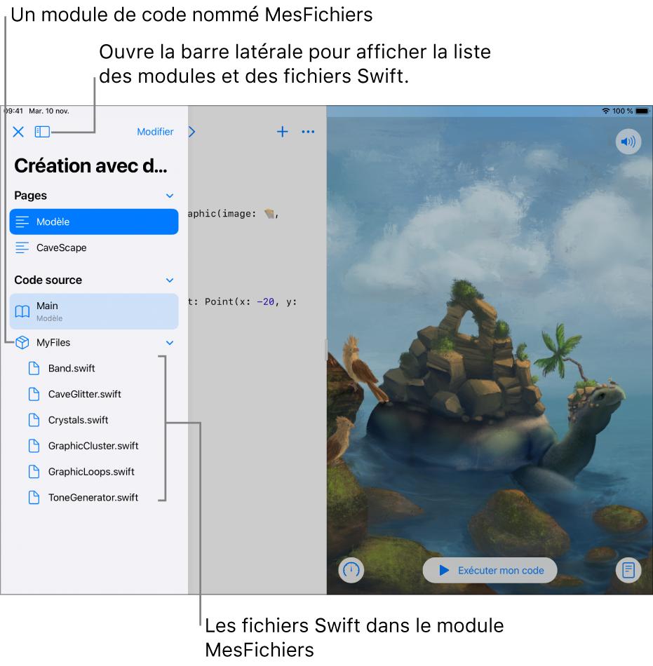 Une page de playground avec la barre latérale ouverte, montrant les pages, le module de code MesFichiers et la liste des fichiers Swift qu'il contient.