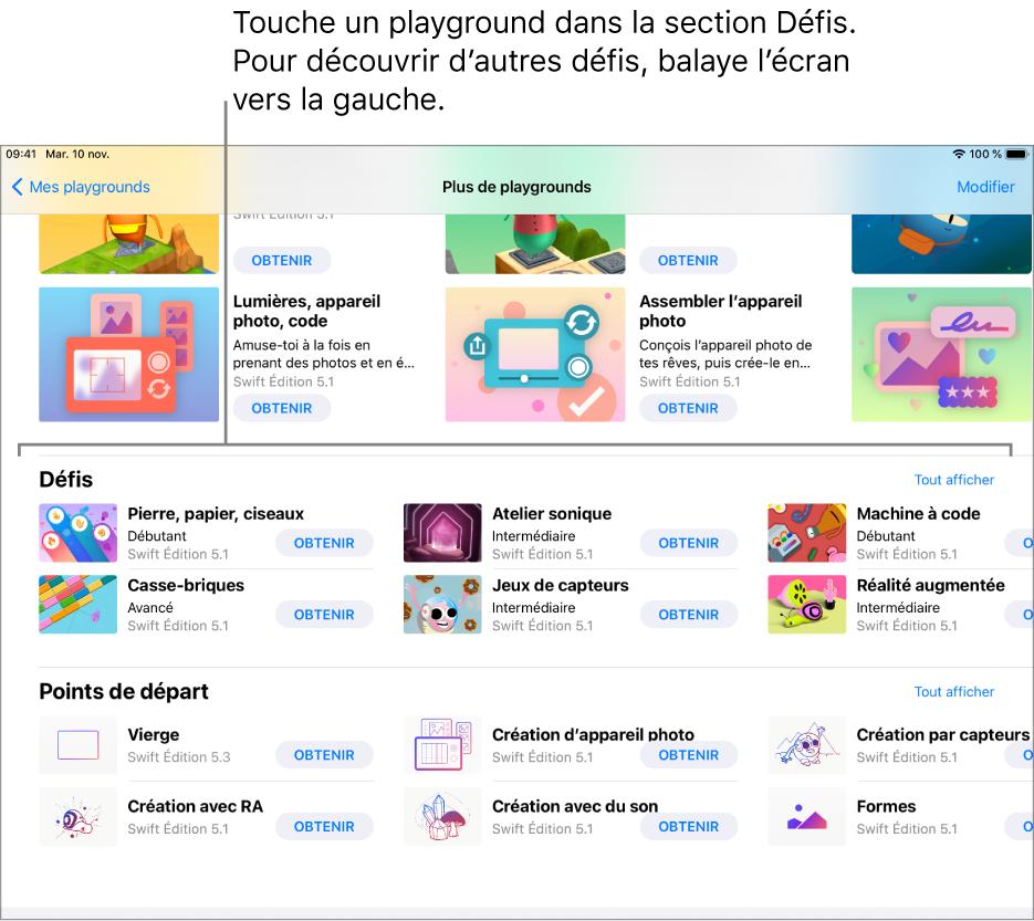 La section Défis dans l'écran «Plus de playgrounds», montrant plusieurs playgrounds prédéfinis disposés dans une grille, chacun possédant un bouton Obtenir te permettant de le télécharger. Pour afficher d'autres défis, balaye l'écran vers la gauche.