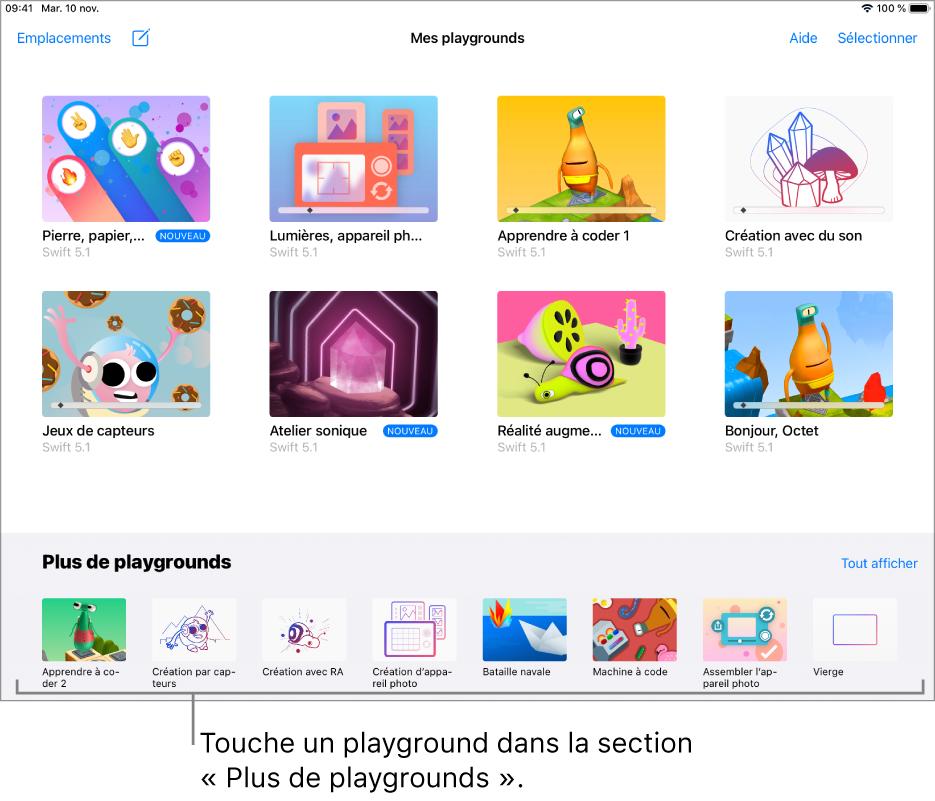 L'écran «Mes playgrounds». La section «Plus de playgrounds» se trouve en bas et affiche plusieurs playgrounds que tu peux essayer.