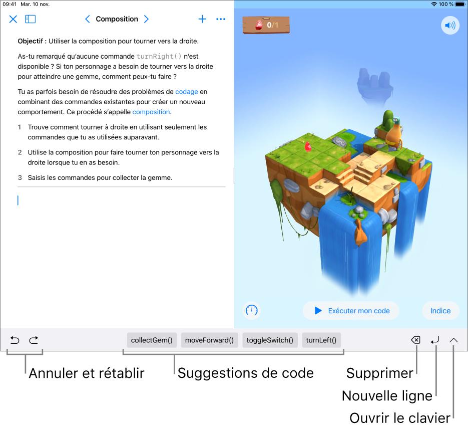 La barre de raccourcis en bas de l'écran, présentant (de gauche à droite) les boutons Annuler et Rétablir, les suggestions de code, le bouton Supprimer, le bouton Nouvelle ligne et le bouton Ouvrir le clavier.