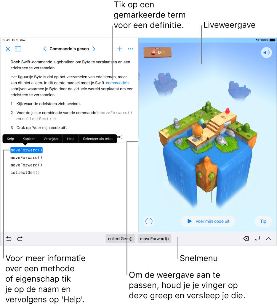 Een playground met een gedeelte voor het invoeren van code aan de linkerkant en een liveweergave van het resultaat aan de rechterkant. Je kunt op gemarkeerde tekst tikken voor een definitie en op methode- en eigenschapsnamen tikken voor snelle hulp.