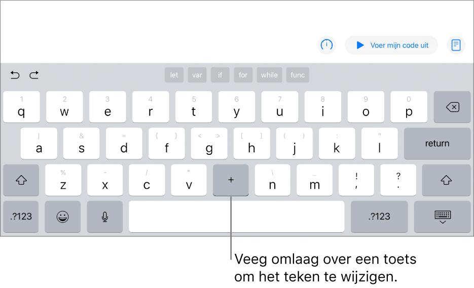 Het toetsenbord waarbij de toetsB is gewijzigd in een plusteken nadat de gebruiker omlaag heeft geveegd op de toets.