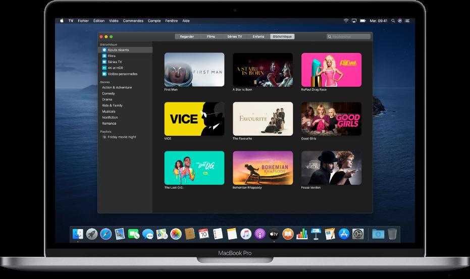 L'écran Bibliothèque de l'app AppleTV.