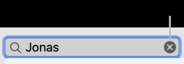 Vyhledávací pole se zadaným textem atlačítkem Smazat na pravé straně pole
