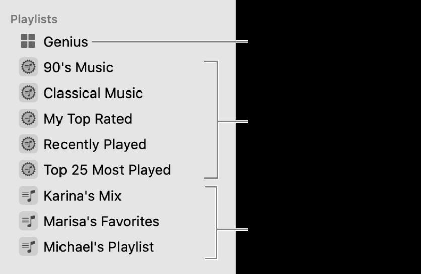 Boční panel aplikace Hudba, na němž jsou vidět různé typy playlistů: Genius, dynamické playlisty astandardní playlisty