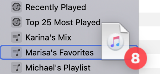 An album being dragged to a playlist. The playlist is highlighted with a blue rectangle.