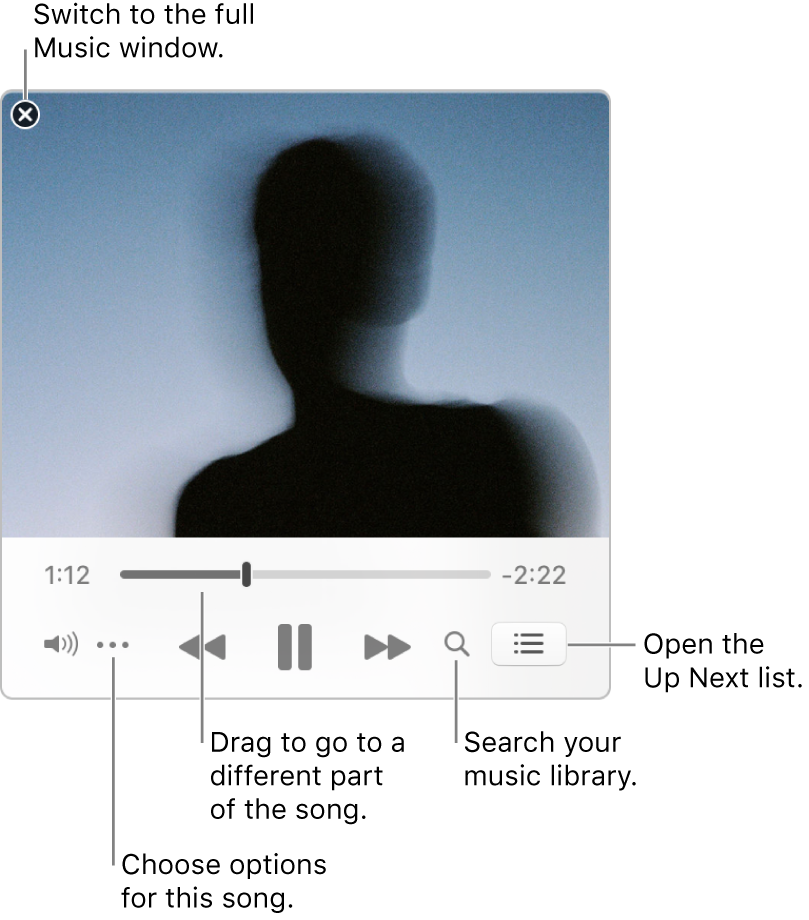 Expanded MiniPlayer showing the controls for the song that's playing. In the top-left corner is the close button, used to switch to the full Music window. In the bottom of the window is a slider that you can drag to go to a different part of the song. Under the slider on the left side is the More button, where you can choose view options and other options for the song that's playing. On the far right under the slider are two buttons—the magnifying glass to search the music library, and the Up Next list to see what's playing next.