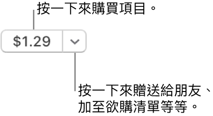 顯示價格的按鈕。按一下價格來購買項目。按一下價格旁的箭嘴來將項目贈予朋友、加至欲購清單等等。