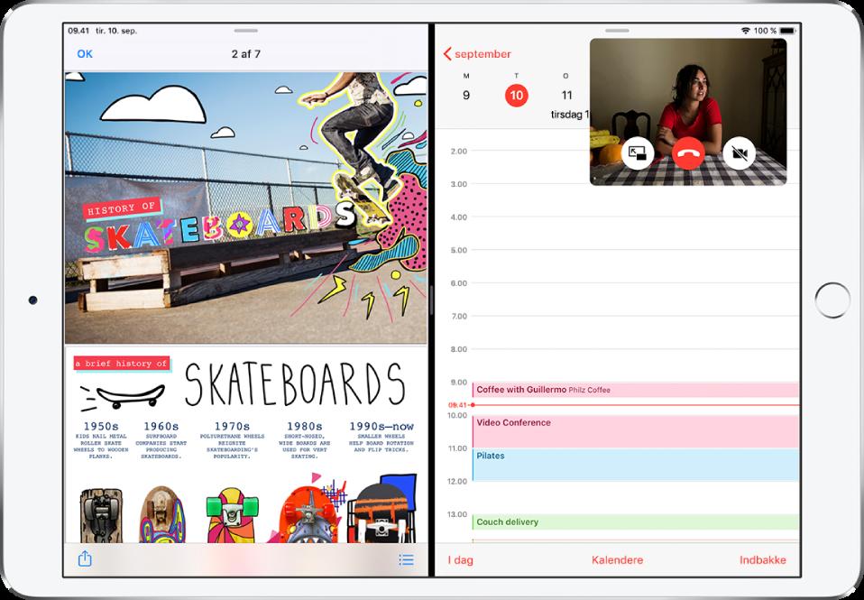 Der er en grafikapp åben på venstre side af skærmen, Kalender er åben til højre, og der vises et lille FaceTime-vindue i øverste højre hjørne.