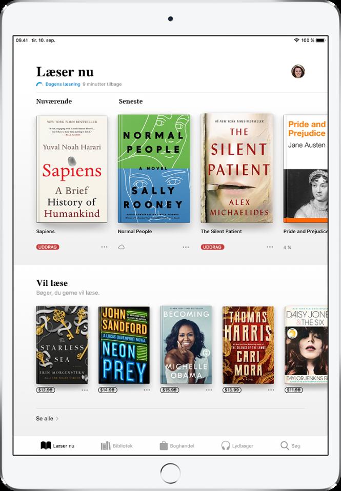 En skærm i appen Bøger. I bunden af skærmen vises, fra venstre mod højre, fanerne Læser nu, Bibliotek, Boghandel, Lydbøger og Søg – fanen Læser nu er valgt. Øverst på skærmen findes området Læser nu, som viser de bøger, du er i gang med at læse. Herunder findes området Vil læse, som viser bøger, du måske vil være interesseret i at læse.