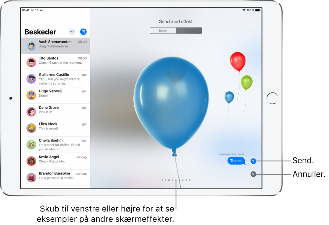 Et eksempel på en besked med en effekt på fuld skæm med balloner.
