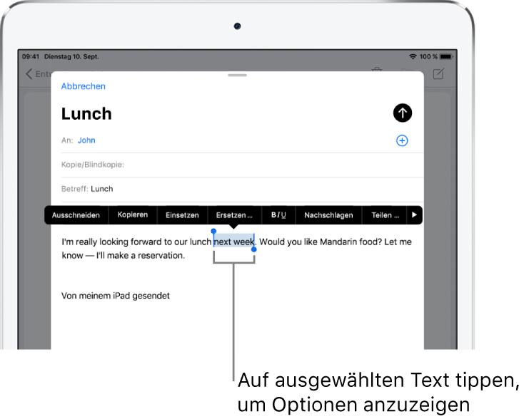 """Beispiel einer E-Mail-Nachricht mit ausgewähltem Text. Über der Auswahl befinden sich die Tasten """"Ausschneiden"""", """"Kopieren"""", """"Einsetzen"""" und """"Ersetzen"""". Der ausgewählte Text ist hervorgehoben."""