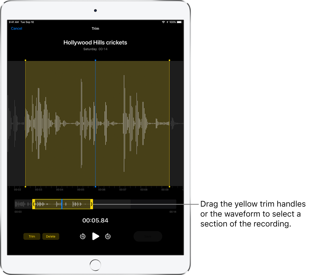 The recording being trimmed, with the yellow trim handles enclosing a portion of the audio waveform at the bottom of the screen. A Play button and a recording timer appear below the waveform and trim handles.