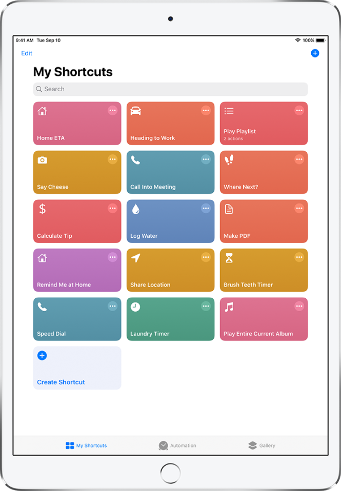 The My Shortcuts tab. At the top is a search field. Below that are shortcuts to complete common everyday tasks such as making a PDF, sharing your location, and setting a laundry timer. At the bottom are the Automation and Gallery tabs.