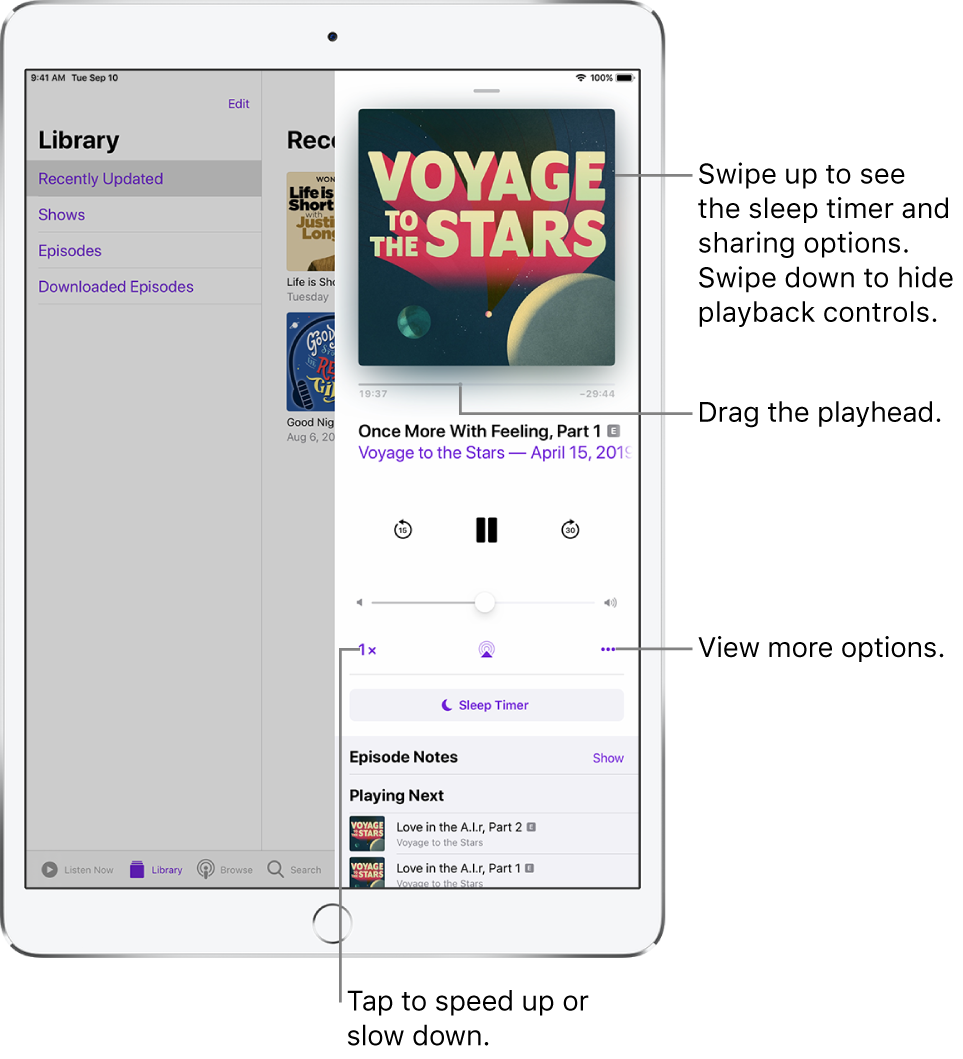 Podcast playback controls on the right side of the screen. In the center is the control for playing or pausing the podcast. Below it is the volume control. At the top of the screen is a slider to rewind or move ahead in the podcast. In the bottom-left corner is the control for changing the playback speed. In the bottom-right corner is the More button.